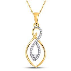 Womens Round Diamond Fashion Pendant 1/8 Cttw 10kt Two-tone Gold - REF-9W5K