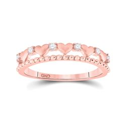 Womens Round Diamond Heart Band Ring 1/10 Cttw 10kt Rose Gold - REF-14N9F