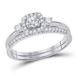 Round Diamond Solitaire Halo Bridal Wedding Ring Band Set 1/2 Cttw 10k White Gold - REF-41F9W