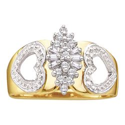 Womens Round Diamond Double Heart Cluster Ring 1/8 Cttw 14kt Yellow Gold - REF-18M9H