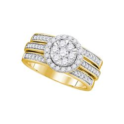 Round Diamond Cluster Bridal Wedding Ring Band Set 1 Cttw 14kt Yellow Gold - REF-101W5K