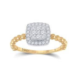 Womens Round Diamond Square Ring 1/3 Cttw 10kt Yellow Gold - REF-19Y5N
