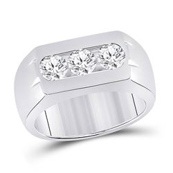 Mens Round Diamond 3-Stone Band Ring 1-1/2 Cttw 14kt White Gold - REF-384Y5N