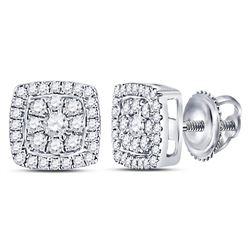 Womens Round Diamond Square Cluster Earrings 1/4 Cttw 14kt White Gold - REF-24W9K