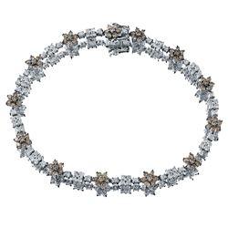2.9 CTW Brown Diamond & Diamond Bracelet 14K White Gold - REF-90F3N