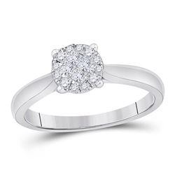 Princess Diamond Cluster Bridal Wedding Engagement Ring 1/4 Cttw 14kt White Gold - REF-31A5M