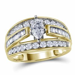 Marquise Diamond Solitaire Bridal Wedding Engagement Ring 1-1/2 Cttw 14kt Yellow Gold - REF-177W5K