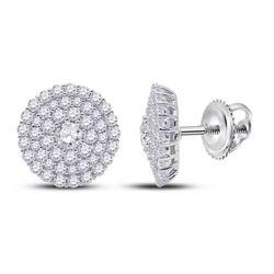 Womens Round Diamond Cluster Earrings 1 Cttw 14kt White Gold - REF-63K9Y