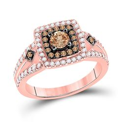 Round Brown Diamond Solitaire Bridal Wedding Engagement Ring 1 Cttw 14kt Rose Gold - REF-90A5M