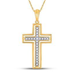 Womens Round Diamond Cross Pendant 1/4 Cttw 10kt Yellow Gold - REF-13A9M