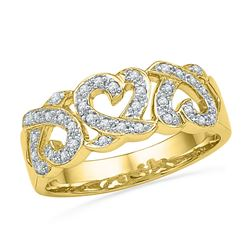 Womens Round Diamond Triple Heart Band Ring 1/5 Cttw 10kt Yellow Gold - REF-22M5H
