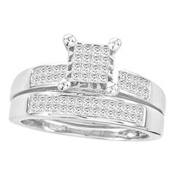 Princess Diamond Bridal Wedding Ring Band Set 3/4 Cttw 14kt White Gold - REF-68F5W