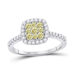 Womens Round Yellow Diamond Square Cluster Ring 3/4 Cttw 14kt White Gold - REF-56Y5N