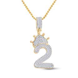 Mens Baguette Diamond Number 2 Crown Charm Pendant 3/4 Cttw 10kt Yellow Gold - REF-29N5F