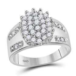 Womens Round Diamond Oval Cluster Ring 1/2 Cttw 14kt White Gold - REF-34M5H