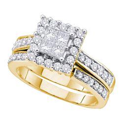 Princess Diamond Halo Bridal Wedding Ring Band Set 1 Cttw 14kt Yellow Gold - REF-96K9Y