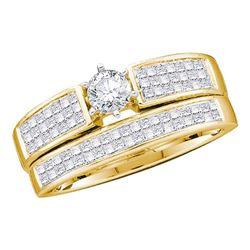 Round Diamond Bridal Wedding Ring Band Set 1 Cttw 14kt Yellow Gold - REF-65F5W