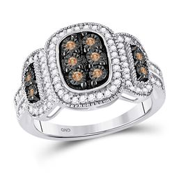 Womens Round Brown Diamond Cluster Ring 1/3 Cttw 10kt White Gold - REF-28F9W