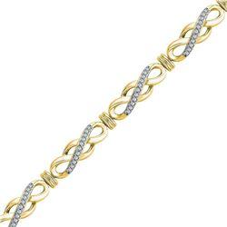 Womens Round Diamond Infinity Bracelet 1/2 Cttw 10kt Yellow Gold - REF-54Y5N