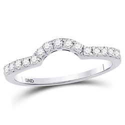 Womens Round Diamond Curved Wedding Band Ring 1/4 Cttw 14kt White Gold - REF-27Y5N