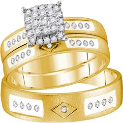 His Hers Round Diamond Cluster Matching Wedding Set 1/4 Cttw 14kt Yellow Gold - REF-57R5X