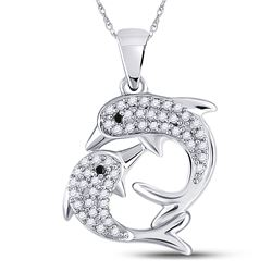 Womens Round Black Color Enhanced Diamond Dolphin Pendant 1/6 Cttw 10kt White Gold - REF-10N5F