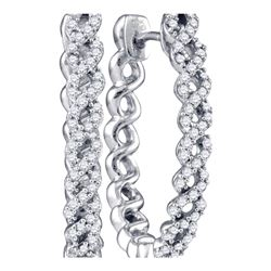 Womens Round Diamond Woven Hoop Earrings 1/2 Cttw 10kt White Gold - REF-47A9M