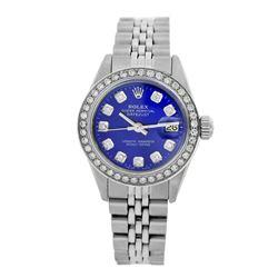 Rolex Pre-owned 26mm Womens Custom Blue Stainless Steel - REF-470N2H