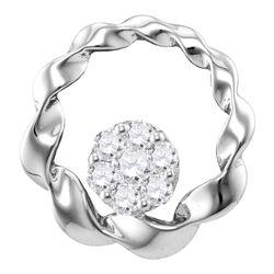 Womens Round Diamond Circle Cradled Cluster Pendant 1/4 Cttw 10kt White Gold - REF-17W5K