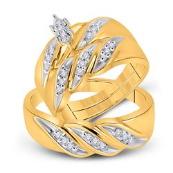 His Hers Marquise Diamond Solitaire Matching Wedding Set 1/4 Cttw 10kt Yellow Gold - REF-32H5R