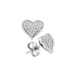 Womens Round Diamond Heart Earrings 1/5 Cttw 10kt White Gold - REF-15R9X