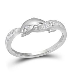 Womens Round Diamond Dolphin Ring 1/20 Cttw 10kt White Gold - REF-11M9H