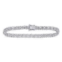 Womens Round Diamond Tennis Bracelet 4-1/3 Cttw 14kt White Gold - REF-261Y5N