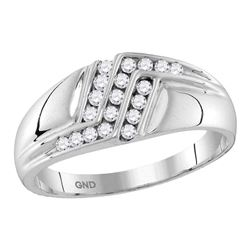 Mens Round Diamond Triple Row Polished Band Ring 1/4 Cttw 10kt White Gold - REF-26W5K