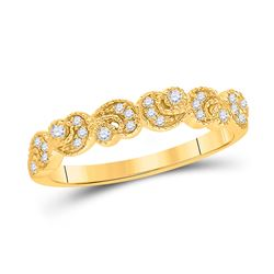 Womens Round Diamond Crescent Stackable Band Ring 1/10 Cttw 14kt Yellow Gold - REF-20K9Y