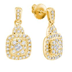 Womens Princess Round Diamond Square Dangle Earrings 1/2 Cttw 14kt Yellow Gold - REF-41R9X