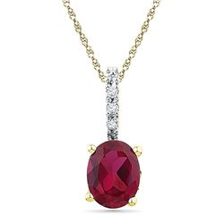Womens Oval Lab-Created Ruby Solitaire Diamond Pendant 1 Cttw 10kt Yellow Gold - REF-6F5W