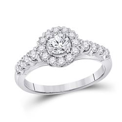 Round Diamond Solitaire Bridal Wedding Engagement Ring 1 Cttw 14kt White Gold - REF-164N5F