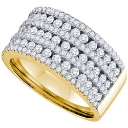 Womens Round Diamond 7-row Band Ring 1-1/2 Cttw 14kt Yellow Gold - REF-137Y9N