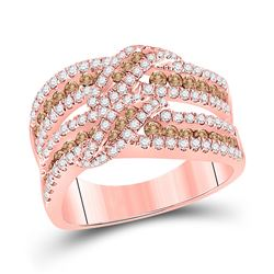 Womens Round Brown Diamond Crossover Band Ring 1-1/3 Cttw 14kt Rose Gold - REF-82H9R
