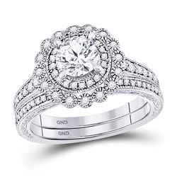 Round Diamond Bridal Wedding Ring Band Set 1-1/5 Cttw 14kt White Gold - REF-252H5R