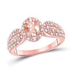 Womens Oval Morganite Diamond-accent Solitaire Ring 1-1/5 Cttw 10kt Rose Gold - REF-32F5W