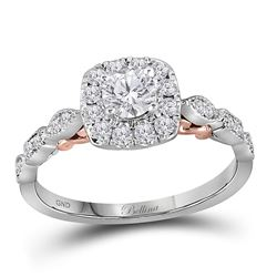 Round Diamond Solitaire Bridal Wedding Engagement Ring 3/4 Cttw 14kt Two-tone Gold - REF-78A5M