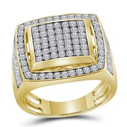 Mens Round Pave-set Diamond Square Frame Cluster Ring 2 Cttw 10kt Yellow Gold - REF-106W9K