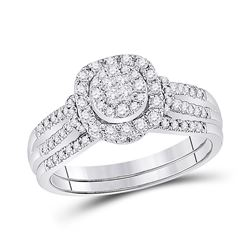 Princess Diamond Bridal Wedding Ring Band Set 1/2 Cttw 14kt White Gold - REF-61M9H