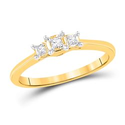Round Diamond 3-stone Bridal Wedding Engagement Ring 1/12 Cttw 10kt Yellow Gold - REF-15K5Y