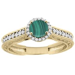 2.42 CTW Malachite & Diamond Ring 14K Yellow Gold - REF-56Y6V