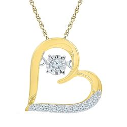 Womens Round Diamond Heart Moving Twinkle Pendant 1/8 Cttw 10kt Yellow Gold - REF-13H9R