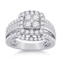 Round Diamond Bridal Wedding Ring Band Set 1-3/4 Cttw 14kt White Gold - REF-120M5H