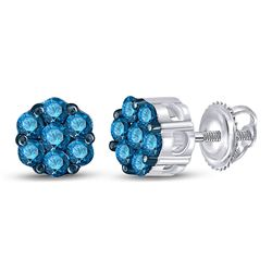 Womens Round Blue Color Enhanced Diamond Cluster Earrings 1/2 Cttw 10kt White Gold - REF-16A9M